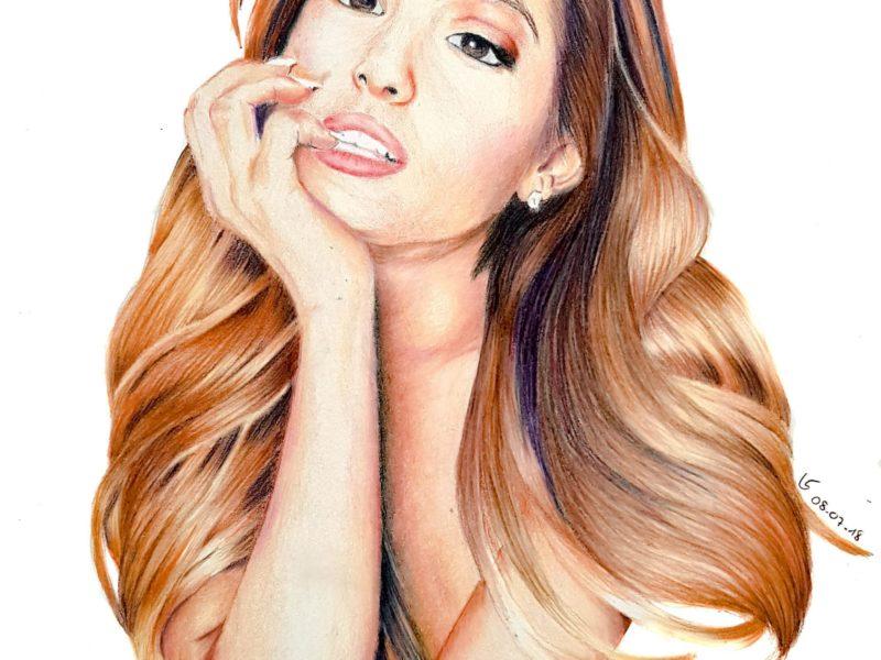 Portrait d'Ariana Grande aux crayons de couleur par Laurie Sénacq