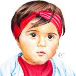 Portrait de fillette aux crayons de couleur par Laurie Sénacq