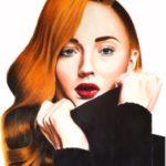 Portrait de Sophie Turner aux marqueurs et crayons de couleur par Laurie Sénacq