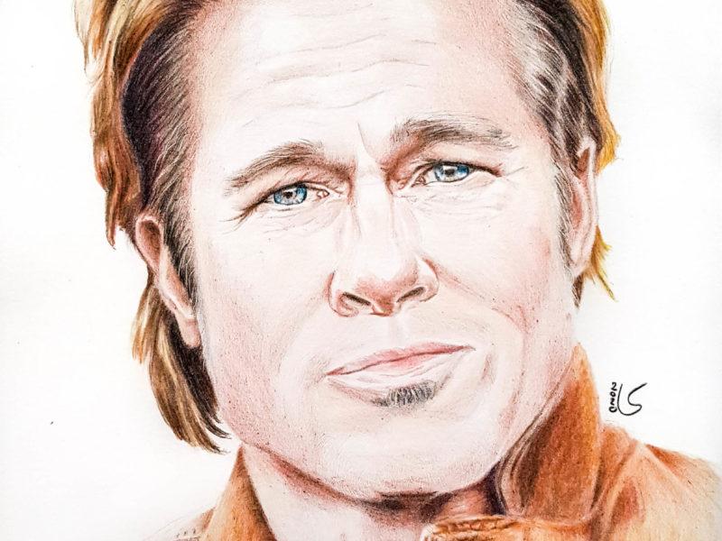 Portrait de Brad Pitt aux crayons de couleurs par Laurie Sénacq