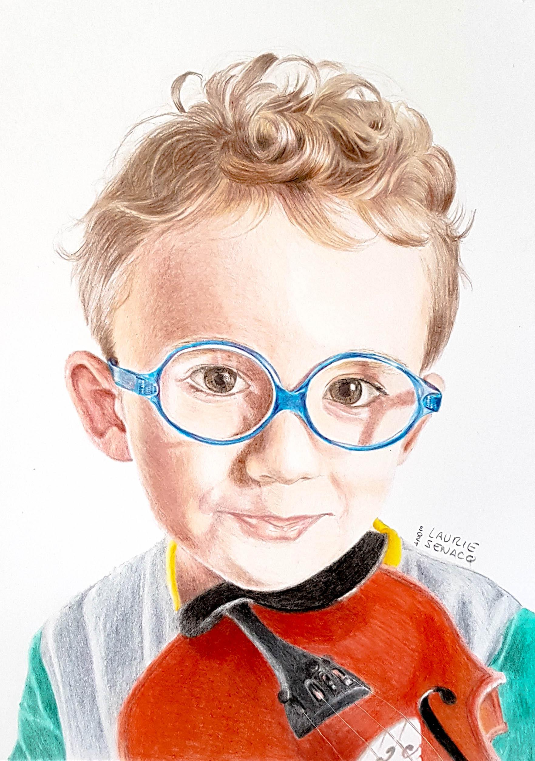 Dessin d'enfant aux crayons de couleur par Laurie Sénacq Portraitiste